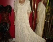 Vintage Starina Flapper Dress Lace Off White  20-30s Theme  Evening Holiday Church Dress Size L