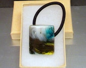 Blue Brown White and Yellow Fused Glass Pony Tail Holder