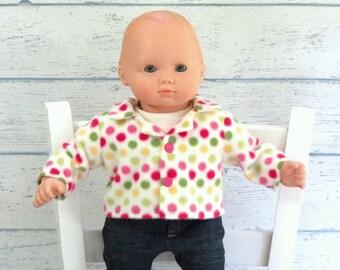 Polkadot Fleece Jacket, 15 inch Doll Coat, Babydoll Jacket, Jacket with Collar