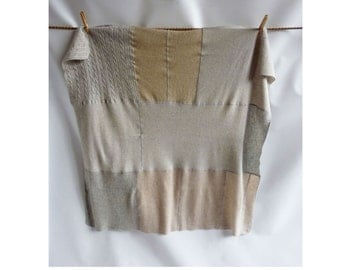 Recycled Cashmere Baby Blanket Taupe Gray Beige Throw