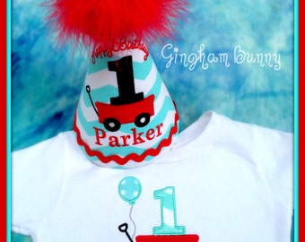 2 Pc. Set, Little Red Wagon First Birthday Hat and T-shirt or Bodysuit,  Little Red Wagon 2nd Birthday Hat  by Gingham Bunny