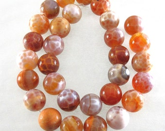 Crab Fire Agate - 10mm Rounds - 12-inch Strand