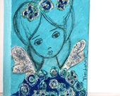 On Sale - Price already reduced - Little Blue Fairy - Original Painting on Canvas by FLOR LARIOS (5 x 7 inches)