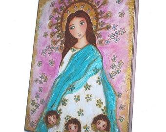 Immaculate Purisima Conception with Angels -  Original Painting  14 x 18 inches Canvas - By FLOR LARIOS