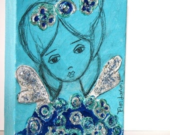Memorial Sale 30% off at checkout - Little Blue Fairy - Original Painting on Canvas by FLOR LARIOS (5 x 7 inches)