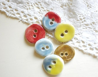 A Set Of 6  Handmade Itty Bitty Sew On  Buttons