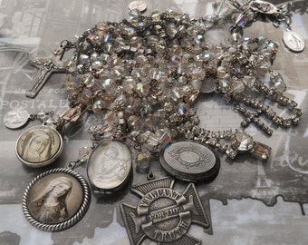 SOLD to Sweet Hettie...SOLD....Love Will Find the Way AB Vintage Rcck Crystal Rosaries & Locket Necklace