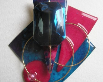 Signed Stephen Dalton Modernist Deco Fuschia Blue Abstract Pin Pendant Sculpture