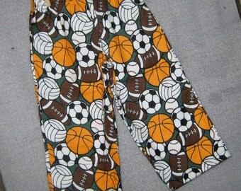 Pajama Pants-- All Sports Soccer, Basketball, Football- Size 3 Toddler