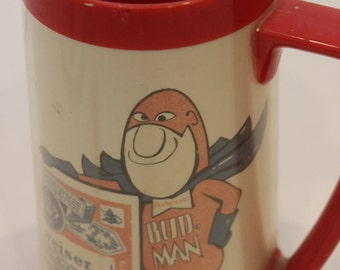 Budweiser Bud Man Beer Stein Mug Cup Vintage Collectible Mug Insulated Plastic Beer Mug Man Cave