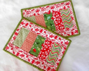 Christmas Snack Mat,  Mug Rugs, Candle Mats, Computer, Mouse Pad Set of 2, Quiltsy Handmade