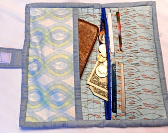 Quilted Wallet, Cell Phone Tote, Credit Card Holder, Change Purse
