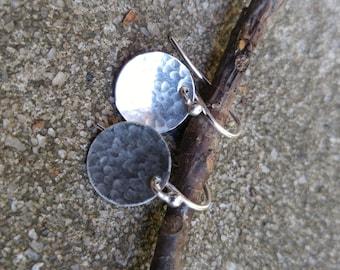 "7/8"" Hammered Sterling Disc Earrings"