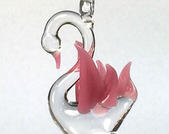 Pink Swan Hand Blown Glass Ornament, Suncatcher, Fan Pull