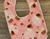 Cupcake Toss Drooler Bib - Snap - Non wicking fleece back - Middle layer Organic cotton