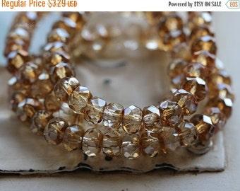10% off CHAMPAGNE GLITZ .. 30 Premium Picasso Czech Rondelle Glass Beads 3x5mm (4826-st)