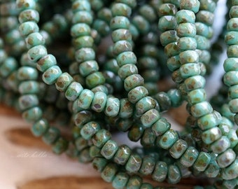 10% off TEAL PICASSO BITS .. New 50 Premium Czech Glass Rondelle Beads 2x3mm (5294-st)