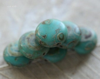 TURQUOISE .. 10 Premium Picasso Czech Glass Lentil Beads 10mm (4322-10)