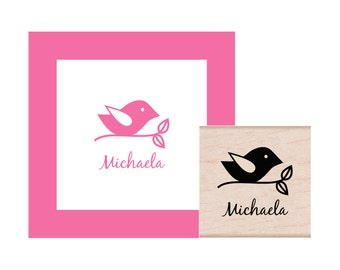Bird on a Branch Personalized Rubber Stamp