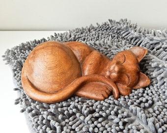 Wood Cat, Carved Cat Sculpture, Sleeping Kitten
