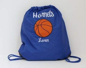 Personalized Backpack  Sports Cinch Sack Soccer, Baseball, Basketball, Lacrosse, Hockey, Custom Embroidered
