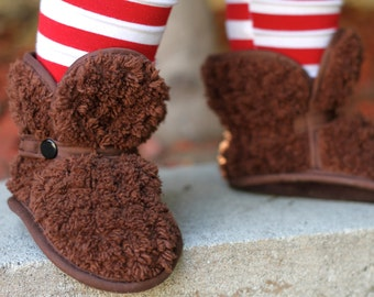 Chocolate Shaggy Chenille Booties - slippers, boots, shoes, Etsy kids booties, fashion, gifts, holidays, soft sole shoes, christmas