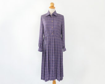 I want to be smart - - polka dot lavender purple pink stripe pleat collar tall dress S M
