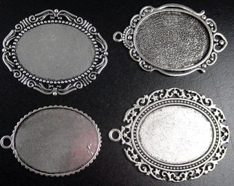 CLEARANCE Pendant Blank 1 Silver Filigree Flat Round Victorian Filigree Setting Lace Edges Tray Pad (1059pen64m1)os