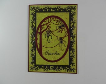 Thanks card Monkeys in a tree greens , browns and burdgandy