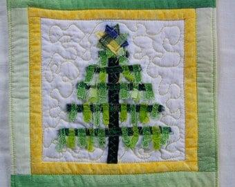 Scrappy  Christmas Tree Coaster, Mug Rug or Mini Quilt #2