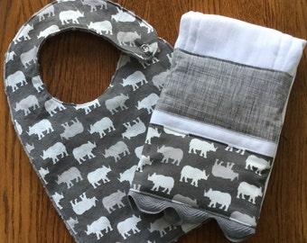 NEW...Rhino Minky Baby/Toddler Bib and Burp Cloth Set