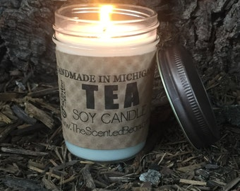 Green Tea     - 8 oz. Scented Soy Candle - Classic Jelly Jar Soy Candle, Tea, Gift Idea, Candles, soy candles