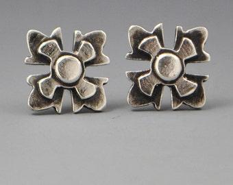 Grace- Sterling Silver Stud Post Affirmation Roman Cross Earrings