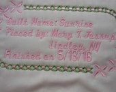 Flower Chain Machine Embroidered Quilt Label Personalized