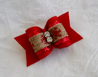 "DOG BOW-  7/8"" Country Christmas Dog Hair Bow"