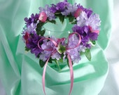 Flower Crown for American Girl Doll 18 Inch Doll Flower Crown Purple and Pink Flower Crown Doll Summer Accessory Am Girl Doll Flower Crown