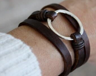 Leather Bracelet/ Eternity Symbol Bracelet/Sterling Silver Eternity Hammered Circle/Leather Wrap Bracelet/IseaDesigns