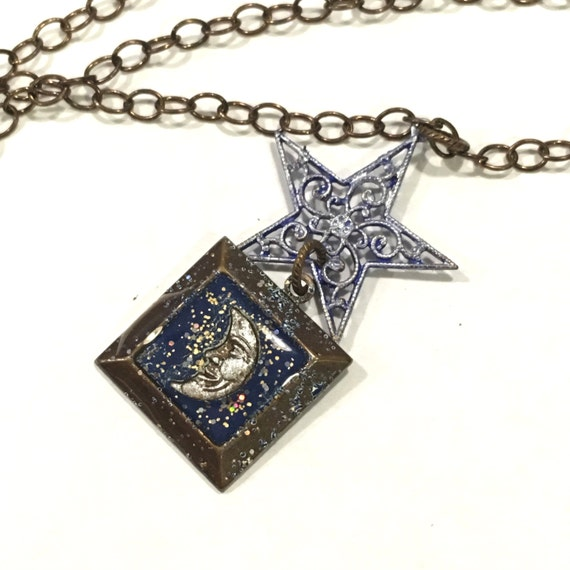 Tiny Framed Moon with Purple Silver Filigree Star on Brass Chain