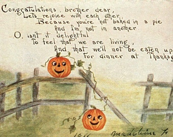 Thanksgiving Greetings vintage postcard,  Pumpkins on fence Antique American greetings postcard