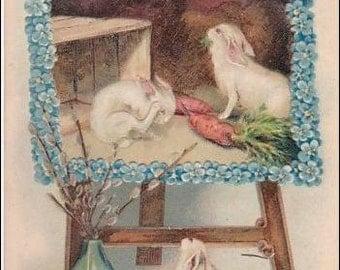 Easter vintage postcard, Easter Greeting  Bunny Rabbits Portrait Vintage Embossed  PostCard - Post Card  Undivided