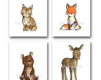 """Woodland Nursery Art -- Woodland Friends """"C"""" SET OF 4 -- Fox Wall Art, Bear Wall Art, Moose Wall Art, Children's Wall Art, Forest Art Print"""