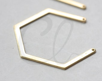 10pcs Raw Brass Geometry Pendant- 40x33mm (3122C-E-618)