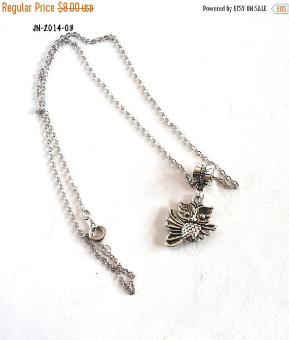 On Sale Owl Necklace, Owl Charm Necklace, Owl on a Chain, Handmade Necklace