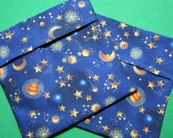 Lined Sandwich Bag--Stars Moons Suns on Navy