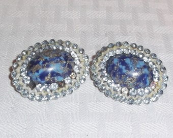 1960s Vintage Large Faux Lapis and Blue Rhinestone Clip On Earrings