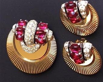Vintage Marcel Boucher Fur Clip & Clip On Earrings Set . Designer signed 1950s Boucher Costume Jewelry . 50s Ruby Red Stones w Rhinestones