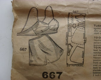 "1940s Knickers & Uplift Bra - 38"" Bust - Maudella 667 - Vintage Sewing Pattern"