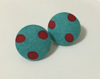 red and turquoise polka dot fabric button earrings