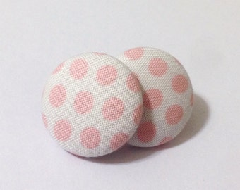 Pink and White Polka Dot Fabric Button Earrings