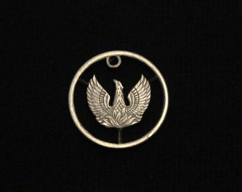 GREECE - cut coin pendant -  Phoenix, Mythical Bird of Egyptian Lore - 1973